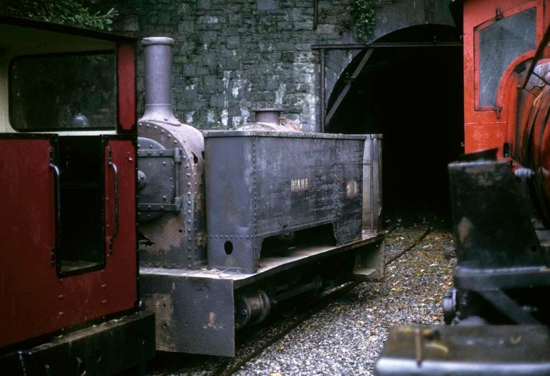 Diana, Gilfach Ddu, Llanberis Lake Rly, 6 October 1974.  Kerr Stuart 0-4-0T 1158 / 1917.  It had just been hauled out of the tunnel where it was being stored with other locos awaiting repair.  In 2017 it was based at the Beamish open air museum.  Photo by Les Tindall.