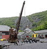 Dinorwiq quarry workshops, National Slate Museum, Llanberis, Gilfach Ddu, Sun 21 August 2011 3.  Smith Rodley steam crane from Port Dinorwic, with the quarry in the background.