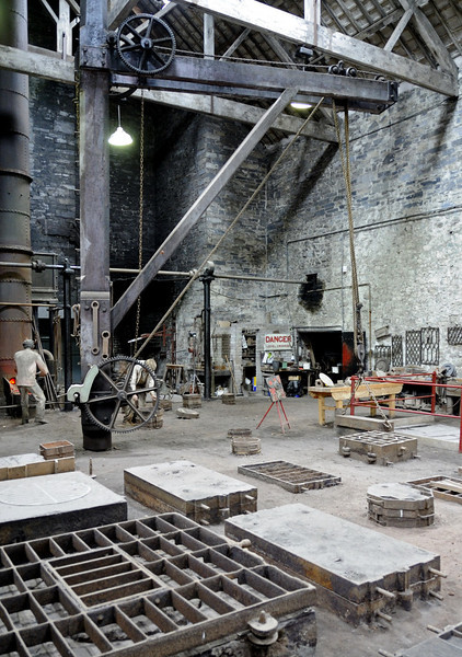 Dinorwic quarry workshops, National Slate Museum, Gilfach Ddu, Llanberis, Sun 21 August 2011 4.  This large foundry, with casting boxes in the foreground, gives some idea of the scale and scope of operations undertaken in the workshops.