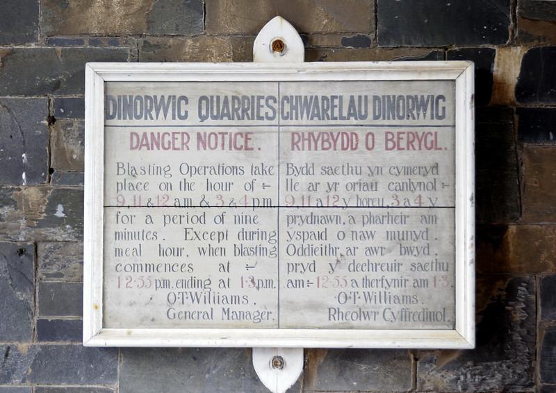 Dinorwic quarry bi-lingual notice, National Slate Museum, Gilfach Ddu, Llanberis, Sun 21 August 2011.  Most of the quarrymen spoke Welsh.