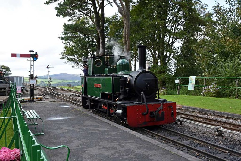 Isaac, Woody Bay station, 8 September 2017 1.  Approaching its passenger train after running round.
