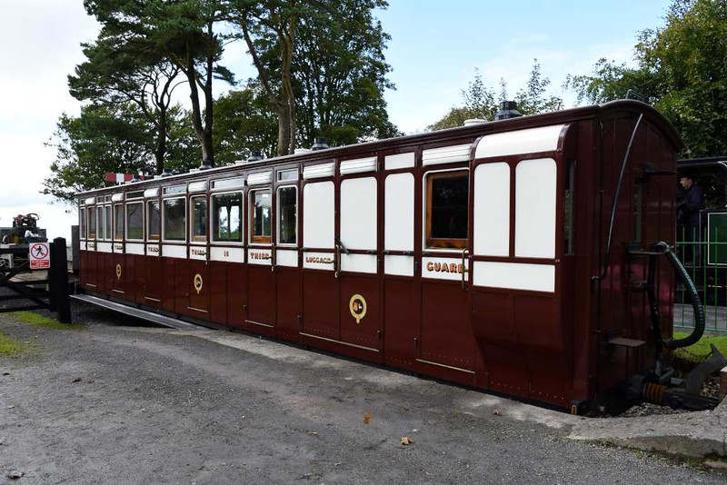 Lynton & Barnstaple Rly third class brake 16, Woody Bay station, 8 September 2017.  Coach 15 was identical and survives in use on the Ffestiniog Rly, where it has been converted to a buffet car and renumbered 14.