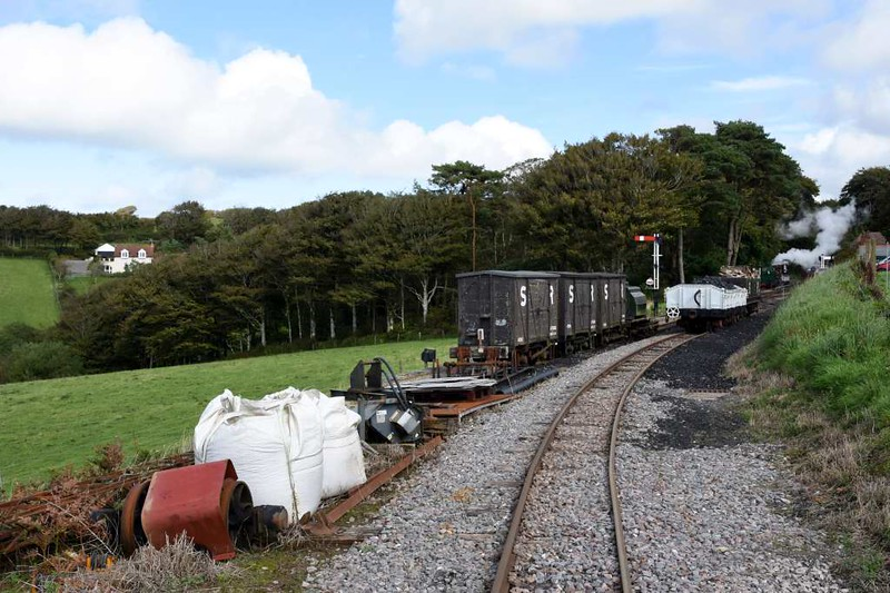 Woody Bay sidings, 8 September 2017.  Looking east towards the station.  The 1 in 50 line up from Killington Lane halt is just visible at left.