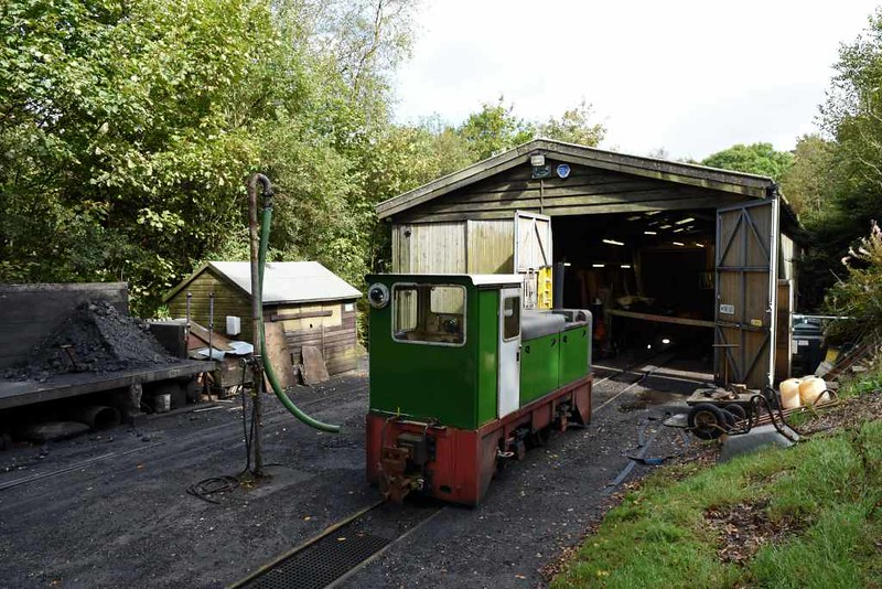 Loco shed, Woody Bay, 8 September 2017.  Outside is Heddon Hall, 60hp Hunslet 4wDH 6660 / 1965 built to 2ft 6in gauge for the Royal Naval Armament Depot at Dean HIll, Wiltshire, and regauged to run on the LBR.  The LBR have obtained but not yet installed a turntable.
