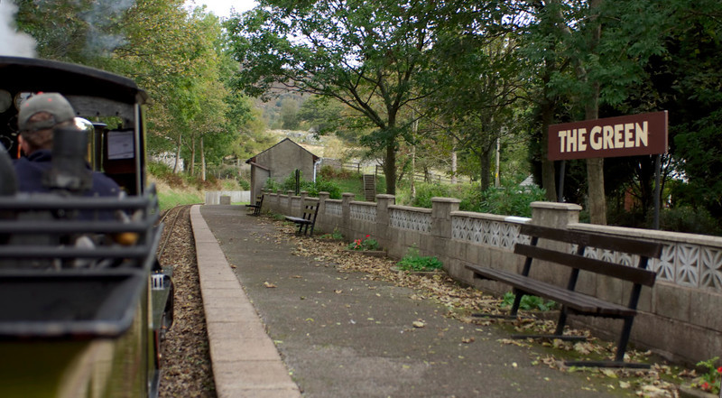 Northern Rock, The Green, 20 October 2006 - 1156.  The station has since been renamed Eskdale Green.  To the east is the 1 in 36 Hollinghow Bank, the steepest section of the line.