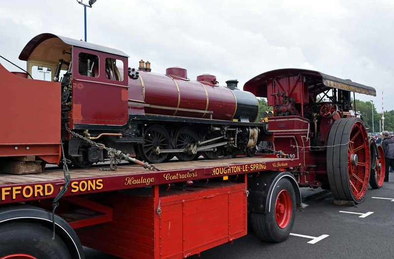 Whillan Beck, DRS open day, Kingmoor, Carlisle, Sat 22 July 2017 5.  Whillan Beck was being taken to Ravenglass on this trailer by the Fowler road loco with a Scammell tractor providing support such as carrying coal and water.
