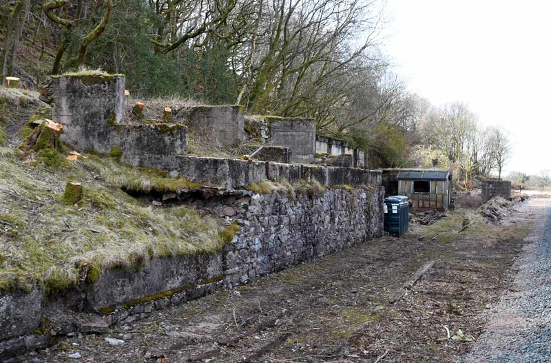 Remains of Murthwaite stone crushing plant. Tues 20 March 2018.  Crushed stone was taken from here to Ravenglass in standard gauge wagons 1930 - 1953.  During this period this section of the Ratty was dual gauge, with the 15 inch gauge track running inside the standard gauge track.