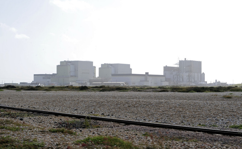 Balloon track and nuclear power stations, Dungeness, Fri 8 June 2012. In the foreground is the balloon track on which RHDR trains turn at Dungeness.  The power stations have their own rail link from Appledore.