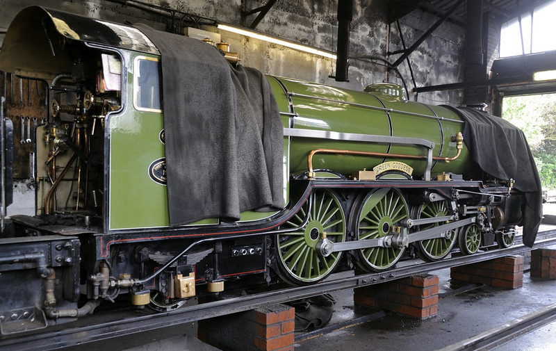 No 1 Green Goddess, New Romney, Fri 8 June 2012.  The RHDR's first loco, a Gresley outline 4-6-2 built in 1925 by Davey Paxman.  It wears LNER apple green.