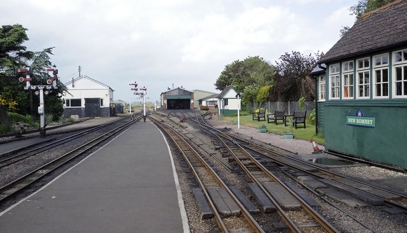 New Romney station, Fri 8 June 2012 2: Looking north, with the loco shed and works in the centre distance.