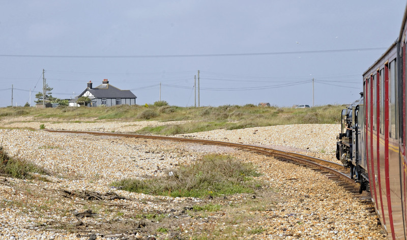 No 8 Hurricane, Dungeness, Fri 8 June 2012 4 - 1705.  Heading back towards New Romney on the balloon track with the 1702 to Hythe.