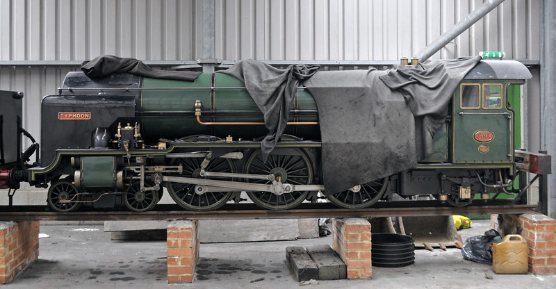 No 7 Typhoon, New Romney, Fri 8 June 2012.  Built in 1927 by Davey Paxman, No 7 is identical to No 8 Hurricane but wears Southern Rly malachite green.