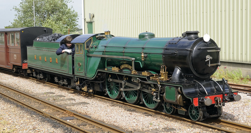 No 3 Southern Maid, New Romney, Fri 8 June 2012 - 1534 2.  The 1926 4-6-2 was built by Davey Paxman and wears RHDR green.
