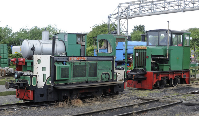 Edward Lloyd and 'Victor', Kemsley Down, Sat 9 June 2012.  Edward is Ruston & Hornsby 0-4-0DH 435403 / 1961, and Victor is Hudson - Hunslet 4wDM 4182 / 1953.