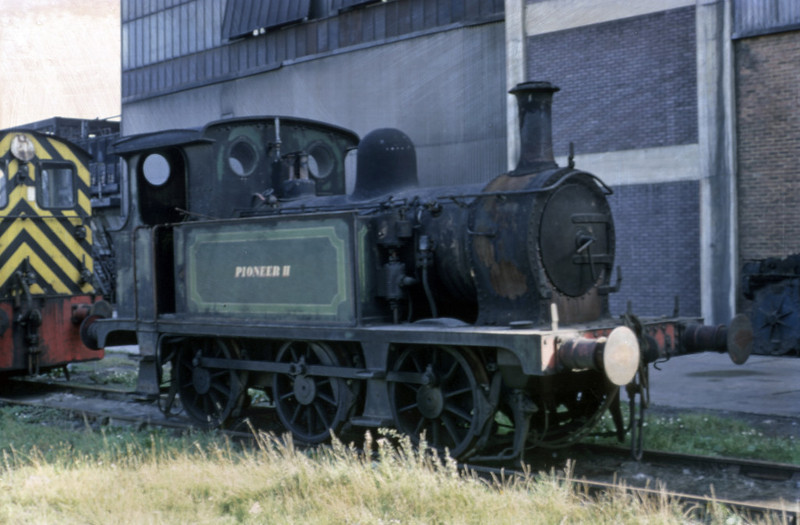 Pioneer II (31178), Sittingbourne, September 1969.   Ex-SECR P class 0-6-0T, preserved on the Bluebell Rly in 2012.  The diesel may be ex-BR D2259. Photo by Les Tindall.