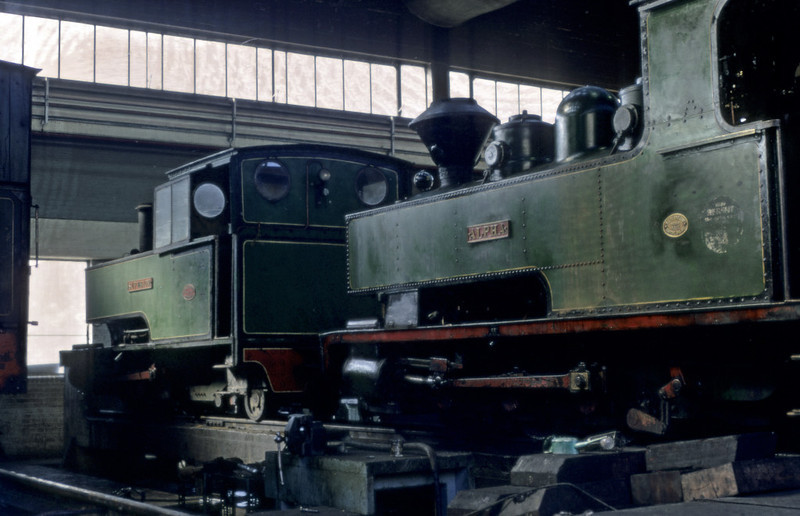 Superior (left) & Alpha, Sittingbourne, September 1969.  Alpha is the first of three later Bagnall 0-6-2Ts (2472 / 1932) at Sittingbourne.  All are still on the SKLR in 2012.  Photo by Les Tindall.