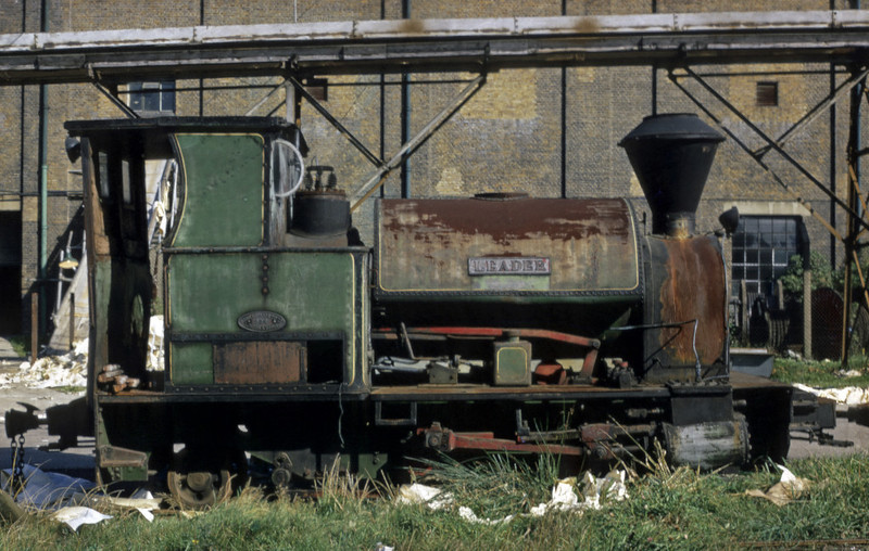 Leader, Sittingbourne? September 1969.  Kerr Stuart 0-4-2ST 926 / 1905.  In use on the SKLR in 2012.  Photo by Les Tindall.