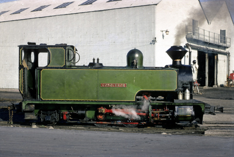 Conqueror, Sittingbourne? September 1969.  Bagnall 0-6-2T 2192 / 1922, privately preserved in 2012.  Photo by Les Tindall.