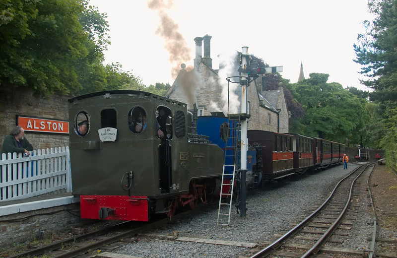 125 Thomas Edmondson & Helen Kathryn, Alston, 2 August 2008    The two Henschel locos wait to leave with the 1430 to Kirkhaugh.
