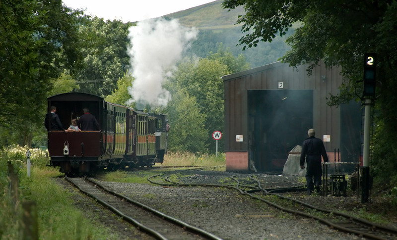 125 Thomas Edmondson, Alston, 2 August 2008    Now working solo, Thomas passes the engine shed with the 1530 to Kirkhaugh.