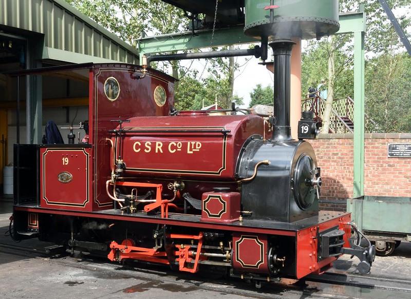 Colonial Sugar Refining Co No 19, Statfold Barn Railway, Sat 8 August 2015.  Hudswell Clarke 0-4-0ST 1056 / 1914, 2ft gauge.  Repatriated from Fiji.