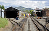 Pendre, looking east, Thurs 25 August 2011.  The carriage shed is at left, and the engine shed and works at right.