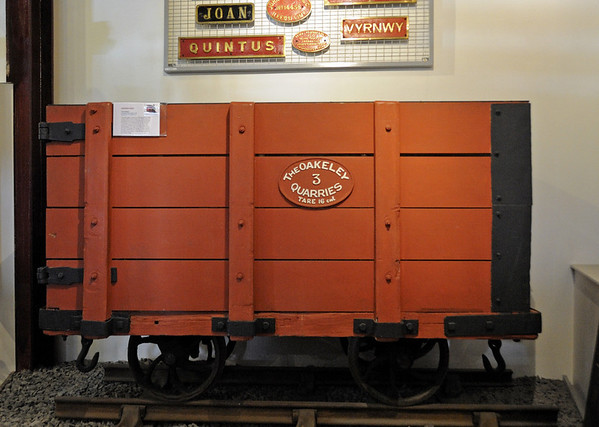 Oakeley quarries 16cwt coal wagon No 3, Narrow Gauge Railway Museum, Tywyn, Thurs 25 August 2011.  It didn't look so smart in service!  Oakeley was near Blaenau Ffestiniog.