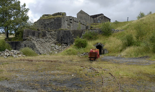 Drift mine entrance, Threlkeld, Sat 28 August 2010 1.     Battery loco Llechwedd can be seen behind a wagon.
