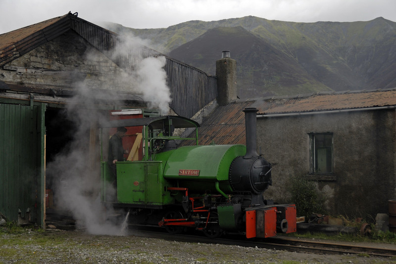 "Sir Tom, Threlkeld, Sat 28 August 2010 1.     The Bagnall 0-4-0ST (2135 / 1925) raises steam outside the enigine house.  It was rebuilt at Threlkeld in 2006 (previously 2' 6""?)."
