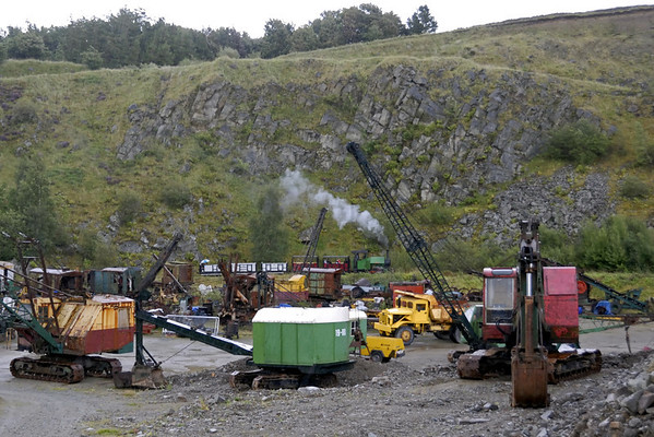 Sir Tom, Threlkeld, Sat 28 August 2010 3.      Sir Tom takes its train to the upper quarry past some of Threlkeld's vintage plant.