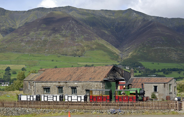 Welcome to Threlkeld quarry and mining museum!  As can be seen from this view (taken on 28 August 2010) of the engine house and Bagnall 0-4-0ST Sir Tom, the museum is just across the Greta valley from mighty Blencathra (2847ft).