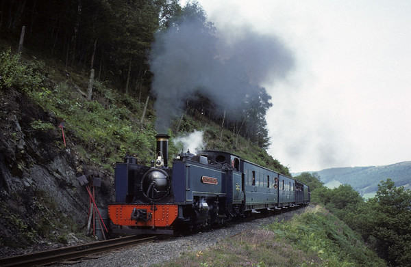 Vale of Rheidol Rly 2-6-2T No 9 Prince of Wales, Aberffrwd, 8 August 1977.  The 1000 from Aberystwyth to Devil's Bridge.  Photo by Les Tindall.