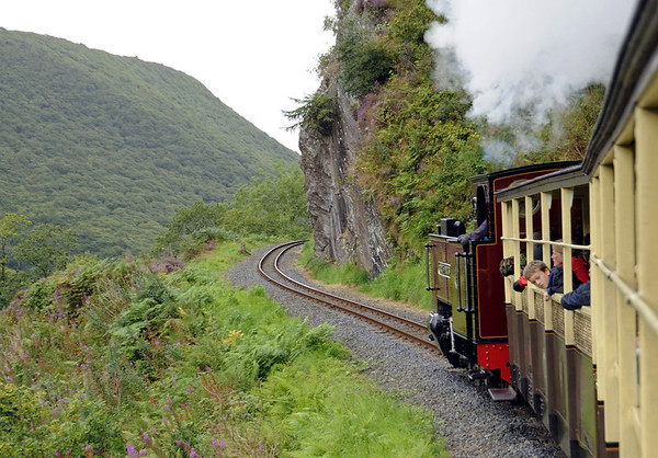 No 9 Prince of Wales, near Rheidol Falls, Wed 24 August 2011 - 1121.  The line climbs at a continuous 1 in 50 over the last 4 miles from Aberffrwd.