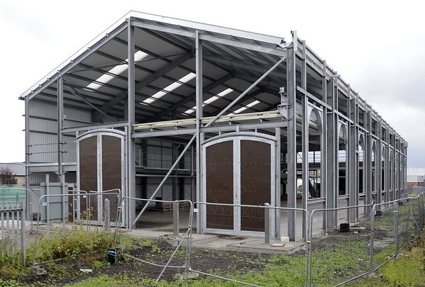 New loco workshop under construction, Aberystwyth, Wed 24 August 2011.