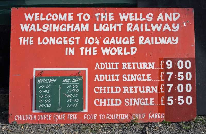 Welcome to the Wells & Walsingham Light Rly 2!  Fri 30 August 2013.  The railway is four miles long.  It opened in 1982.