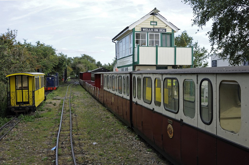 Rolling stock, Wells, Fri 30 August 2013.  Norfolk Harvester is at left.  The signalbox came from Swainsthorpe, on the Norwich - Diss line.