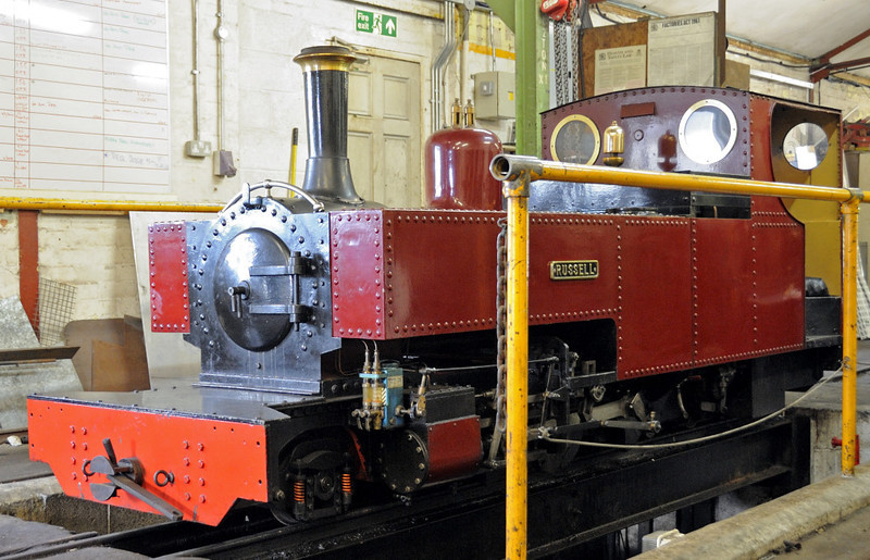Russell, Fairbourne, Wed 24 August 2011.  This half size replica of Russell on the 12.5in Fairbourne Rly shows how the prototype will look when its overhaul is complete.