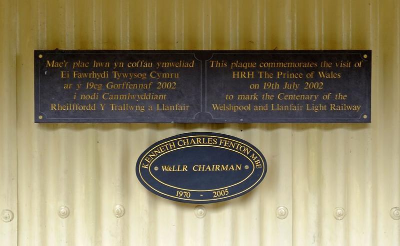 Llanfair Caereinion, Fri 26 August 2011 6: 2002 centenary plaque.