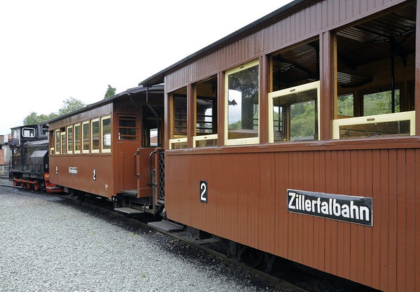 Austrian coaches, Llanfair Caereinion, Fri 26 August 2011.  Two of the five coaches donated to the W & L by the Zillertalbahn.