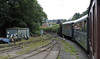 822 The Earl, passing Tanllan carriage shed, Fri 26 August 2011.  Locos and rolling stock out of use are stored here.