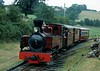 Joan, Llanfair Caereinion, 13 August 1977.  Kerr Stuart 0-6-0T 4404 / 1927.  The loco had come from Antigua, the last coach from Sierra Leone.  Photo by Les Tindall.