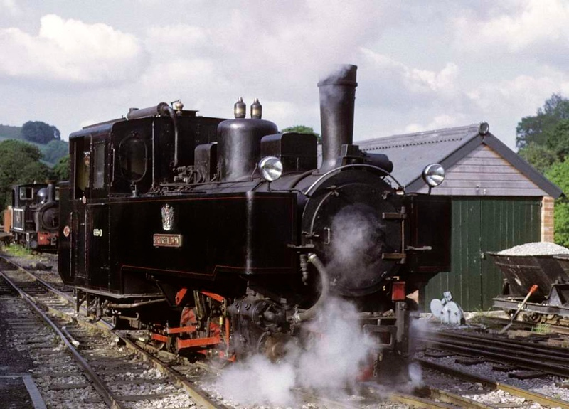 Sir Drefaldwyn, Llanfair Caereinion, 27 May 1975.  Backing out of the station on a test run after minor repairs.   Photo by Les Tindall.