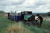 Nos 7 & 8, West Lancashire Light Railway, 1 August 1976.  The Motor Rail is at the far end of the line, about to take the Southport pier coach back to Becconsall.  No 8 had taken it out and will follow separately, as propelling is not allowed over the sharp cuves.  Photo by Les Tindall.