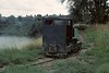 No 7, West Lancashire Light Railway, 1 August 1976.  Running from the shed round the flooded quarry to the far end of the ine.  Photo by Les Tindall.