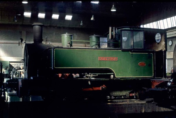 Superior, Kemsley mill, September 1969.  Kerr Stuart 0-6-2T 4034 / 1920.  Superior was built new for the Bowater's Paper railway at Sittingbourne, Kent.  It moved to Whipsnade in 1970, after the Bowater's railway had closed.  Photo by Les Tindall.