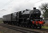 45212, 5Z20, Carnforth, Fri 3 March 2017 - 0942.  The Black 5 arrives 100 late on a 0512 positioning move from the East Lancashire Railway.  It had suffered a warm side rod bearing, and had stopped at Preston 0731 - 0842, and had also briefly gone inside at Barton & Broughton and at Oubeck.  It had been coming for a loaded test run.  This was 45212's first main line working since 3 August 1968 when it worked the 1P58 2048 Preston - Blackpool South portion off the 1L79 1705 Euston - Carlisle.  This was the penultimate steam-hauled BR passenger service.  The very last one left Preston just after 45212 when 45318 hauled the 2125 to Liverpool Exhange.  45212 was bought for preservation on withdrawal and has since been based on the KWVR with occasional visits to other heritage lines.