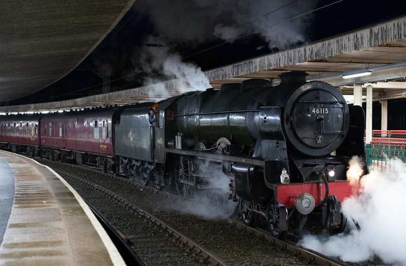 46115 Scots Guardsman, 1Z87, Carnforth, Sat 28 January 2017 - 1744.  The Scot arrives with the return leg of the Railway Touring Company's Euston - Carlisle Winter Cumbrian Coast Express.  It had worked the outward leg from Carnforth via Shap. 86259 worked the train to and back from Carnforth.  The ten coaches were 80217, 99723, 4973, 1861, 99125, 99127, 3136, 1961, 99122 & 3058.  There was no diesel assistance.  57314 worked the ECS from Southall to Euston and back.