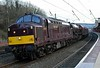 37669, 6201 Princess Elizabeth & 37668, 5Z34, Lancaster, Thurs 22 February 2018 1 - 1639. WCRC's 0900 Butterley - Carnforth move passes Lancaster two hours early.  The Princess was being taken to Steamtown for the work needed to return it to working order.