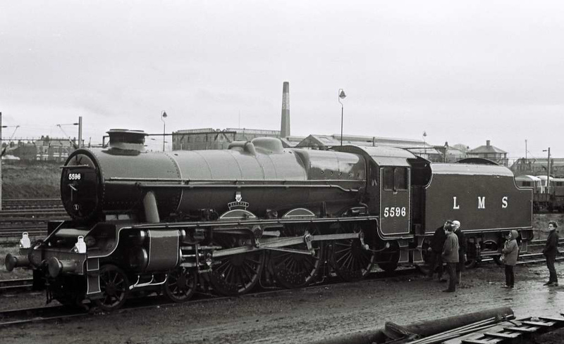 5596 Bahamas, Stockport Edgeley shed, 16 March 1968 1.  Bahamas had been withdrawn in July 1966.  It was bought by the Bahamas Locomotive Society and is seen following an overhaul and repaint by Hunslet.