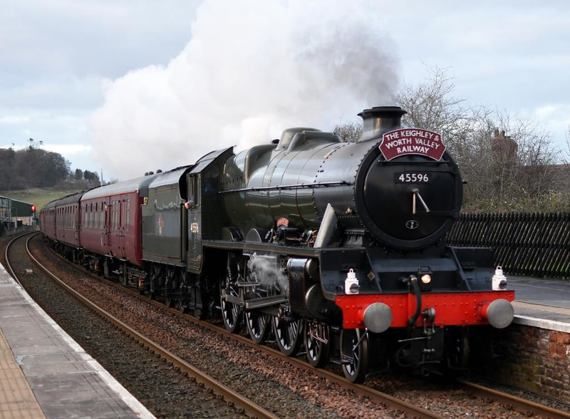 45596 Bahamas, 1Z61, Lazonby, Sat 9 February 2019 1 - 1559.  Bahamas heads to Oxenhope with the return leg of a KWVR - Carlisle tour promoted by its owners, the Bahamas Locomotive Society.